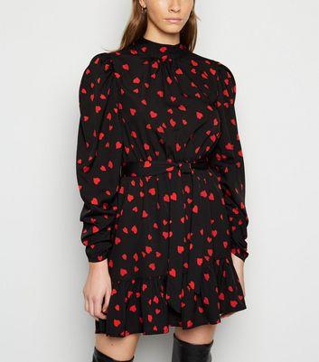 Influence Black Heart Print Frill Mini Dress New Look
