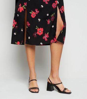 Influence Black Floral Short Sleeve Midi Dress New Look