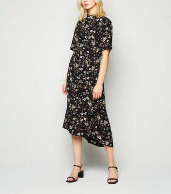 JDY Black Floral High Neck Midi Dress New Look