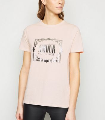 pale pink amour metallic slogan t-shirt new look