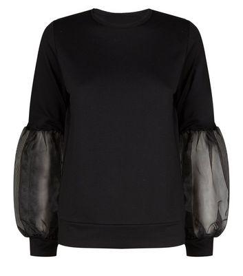 Carpe Diem Black Organza Puff Sleeve Sweatshirt New Look
