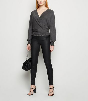 Carpe Diem Dark Grey Wrap Batwing Top New Look