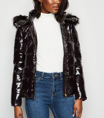 Cameo Rose Black Patent Faux Fur Puffer Jacket