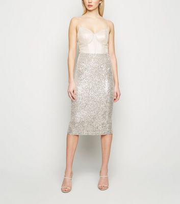Click to view product details and reviews for Gold Sequin Midi Pencil Skirt New Look.