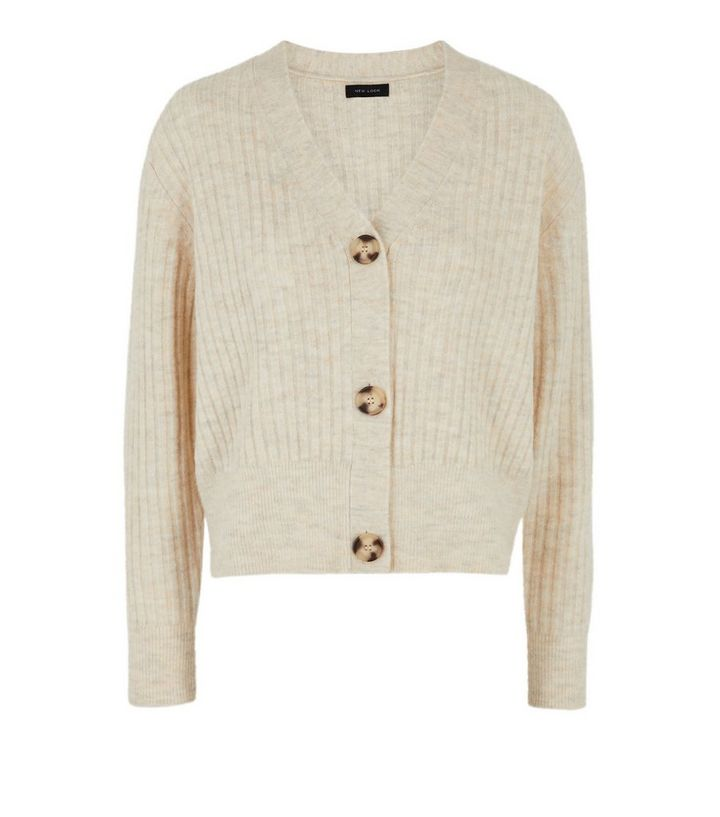 Cream Ribbed Knit Button Up Cardigan