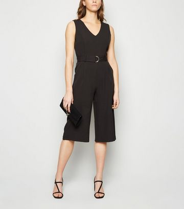 Mela Black D Ring Belted Culotte Jumpsuit