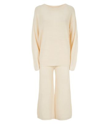 Brave Soul Cream Knit Jumper and Trousers Set New Look
