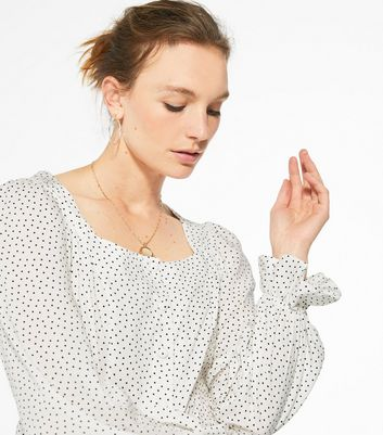 New Look White Spot Square Neck Blouse
