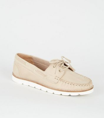 Off White Leather Boat Shoes   New Look