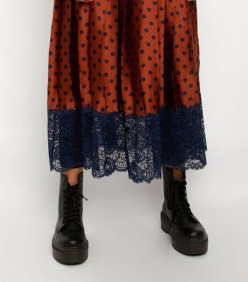 Till We Cover Rust Spot Lace Trim Midi Skirt New Look