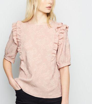 Pale Pink Floral Jacquard Frill Trim T-Shirt
