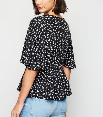 AX Paris Black Ditsy Floral Peplum Top New Look