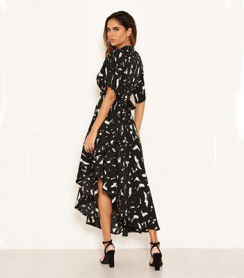 AX Paris Black Brushstroke Print Frill Midi Dress New Look