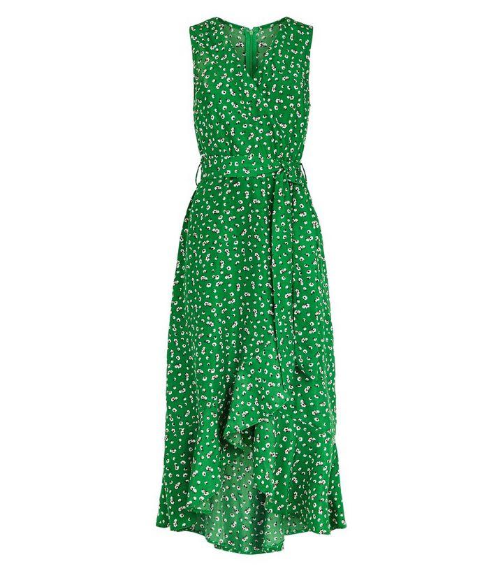 Ax Paris Robe Verte A Imprime Floral Et Ourlet A Volants New Look