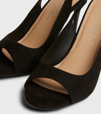 shop for Black Slingback Peep Toe Stiletto Sandals New Look Vegan at Shopo