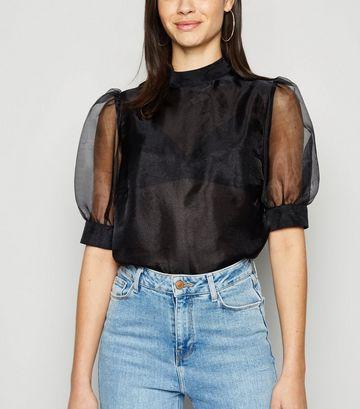 Black Organza Puff Sleeve Blouse
