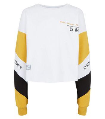 girls white colour block chicago slogan sweatshirt new look