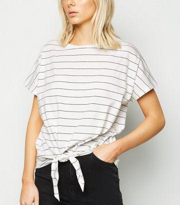 White Stripe Tie Front T-Shirt