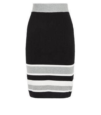 Sunshine Soul Light Grey Colour Block Stripe Skirt New Look