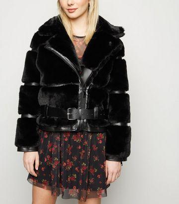 Cameo Rose Black Faux Fur Panel Jacket
