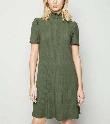 Khaki Shirred Neck Puff Sleeve Swing Dress