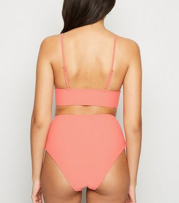 Vero Moda Coral Longline Triangle Bikini Top New Look