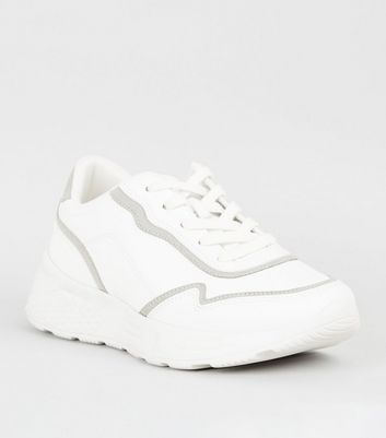 White Leather-Look Contrast Chunky
