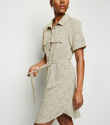 Brave Soul Off White Spot Mini Shirt Dress New Look