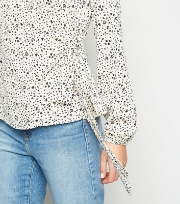 madam rage off white heart wrap top new look