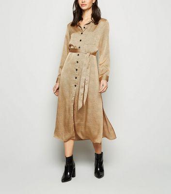 madam rage brown leopard satin midi shirt dress new look