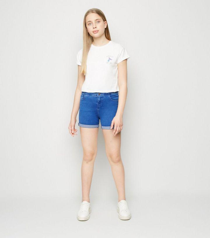 Girls Blue High Waist Denim Shorts | New Look