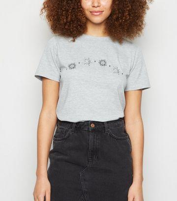 Grey Marl Celestial Print Crew Neck T-Shirt