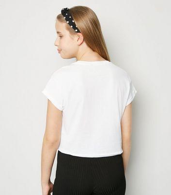 girls white namastay with my dog slogan t-shirt new look
