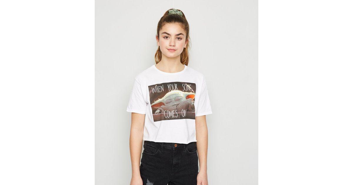 Girls White Baby Yoda Song Meme T-Shirt | New Look