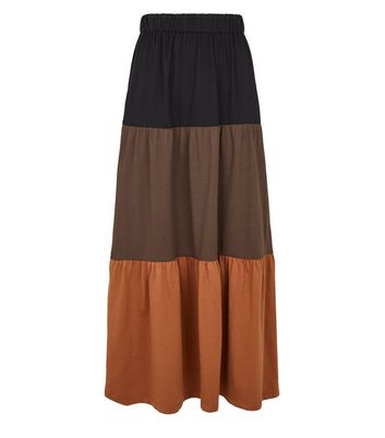 JDY Black Colour Block Maxi Skirt New Look