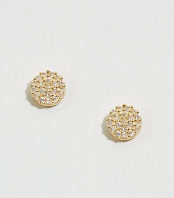 Affinity Gold Plated Cubic Zirconia Stud Earrings New Look