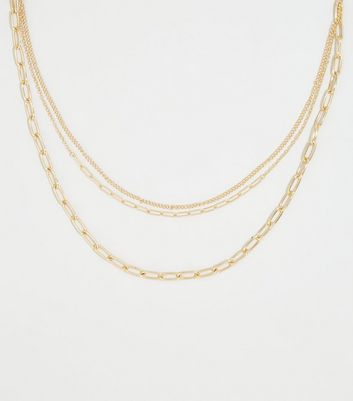Affinity Gold Chunky Layered Chain Necklace New Look
