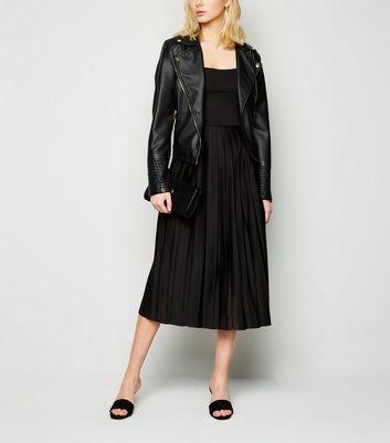 NA-KD Black Pleated Strappy Midi Dress New Look