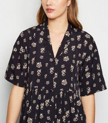 Noisy May Black Dragon Print Smock Shirt Dress New Look