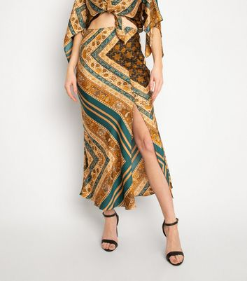 Another Look Brown Paisley Print Midi Skirt New Look