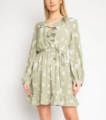 Another Look Mint Green Floral Spot Dress New Look