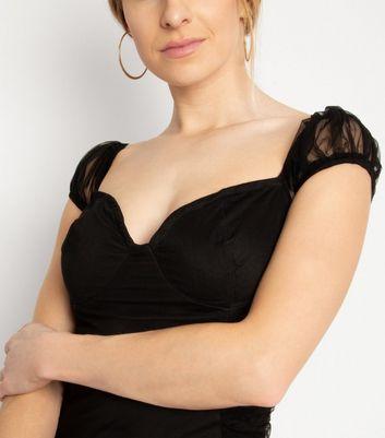 NaaNaa Black Mesh Cap Sleeve Dress New Look