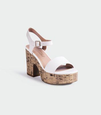 White Platform Cork Block Heel Sandals