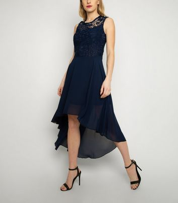 Cutie London Navy Lace Dip Hem Dress New Look