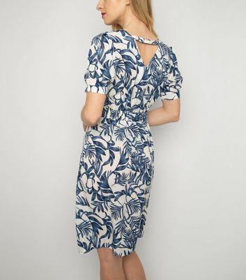 Cutie London Blue Leaf Print Dress New Look