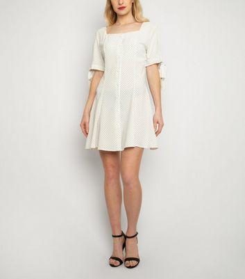 Cutie London White Spot Tie Sleeve Dress New Look