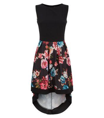 Mela Black Floral Dip Hem Dress New Look