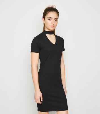 girls black choker neck dress new look