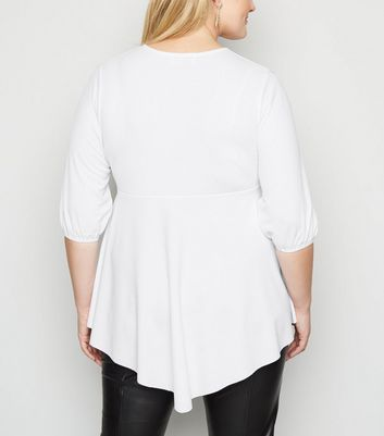 Just Curvy White Asymmetric Wrap Top New Look