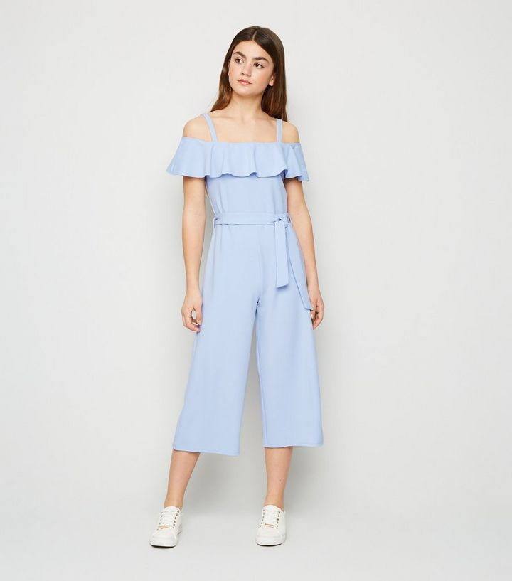 Girls Pale Blue Cropped Wide Leg Jumpsuit   New Look